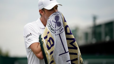 <p>               United States' Sam Querrey wipes his face as he plays United States' Tennys Sandgren in a Men's singles match during day seven of the Wimbledon Tennis Championships in London, Monday, July 8, 2019. (AP Photo/Tim Ireland)             </p>