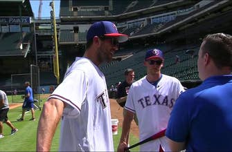 Ben Bishop and Corey Perry at the Ballpark for Dallas Stars Night