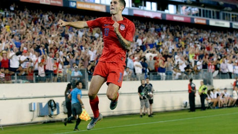 <p>               United States midfielder Christian Pulisic celebrates after scoring a goal against Jamaica during the second half of a CONCACAF Gold Cup semifinal soccer match Wednesday, July 3, 2019, in Nashville, Tenn. The United States won 3-1. (AP Photo/Mark Zaleski)             </p>