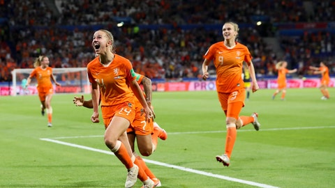 <p>               Netherlands' Jackie Groenen, foreground, celebrates after scoring during the Women's World Cup semifinal soccer match between the Netherlands and Sweden, at the Stade de Lyon outside Lyon, France, Wednesday, July 3, 2019. (AP Photo/Francisco Seco)             </p>