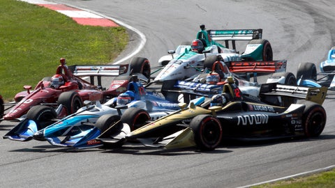 <p>               Marcus Ericsson (7) gets together with Takuma Sato on the first lap during an IndyCar Series auto race, Sunday, July 28, 2019, at Mid-Ohio Sports Car Course in Lexington, Ohio. (AP Photo/Tom E. Puskar)             </p>