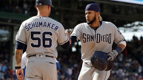 <p>               San Diego Padres' Fernando Tatis Jr., right, celebrates with first base coach Skip Schumaker after hitting a two-run single during the ninth inning of a baseball game against the Chicago Cubs in Chicago, Sunday, July 21, 2019. (AP Photo/Nam Y. Huh)             </p>