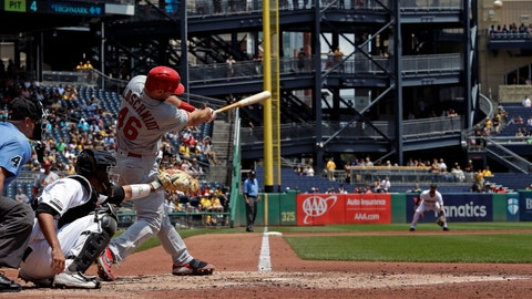 <p>               St. Louis Cardinals' Paul Goldschmidt hits a solo home run off Pittsburgh Pirates starting pitcher Joe Musgrove during the fourth inning of a baseball game in Pittsburgh, Thursday, July 25, 2019. The Cardinals won 6-3. (AP Photo/Gene J. Puskar)             </p>