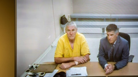 <p>               Former Washington State quarterback and Superbowl MVP Mark Rypien appears alongside defense attorney Chris Bugbee via video conference for a hearing presided over by commissioner Kristin O'Sullivan on Monday, July 1, 2019, in Spokane, Wash. Rypien was arrested yesterday for alleged fourth degree domestic violence against his wife, and is slated for release today without a no contact order. (Libby Kamrowski/The Spokesman-Review via AP)             </p>