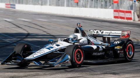 <p>               Simon Pagenaud of France drives during practice sessions ahead of qualifying at the 2019 Honda Indy Toronto, in Toronto, Saturday, July 13, 2019. (Mark Blinch/The Canadian Press via AP)             </p>