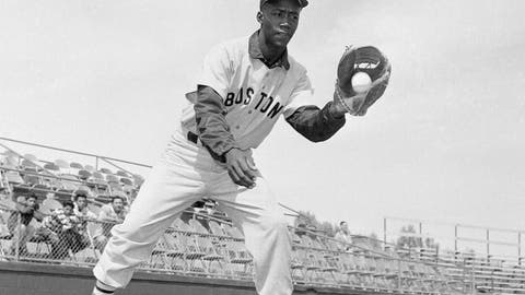 "<p>               FILE - In this April 1959 file photo, Boston Red Sox's Elijah ""Pumpsie"" Green poses for a photo, location not known. Green, the first black player on the Red Sox, has died. He was 85. A Red Sox spokesman confirmed his death Wednesday night, July 17, 2019. (AP Photo/Harold Filan, File)             </p>"