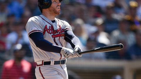 <p>               Atlanta Braves' Freddie Freeman looks up after hitting a three-run home run during the eighth inning of a baseball game against the San Diego Padres in San Diego, Sunday, July 14, 2019. (AP Photo/Kelvin Kuo)             </p>