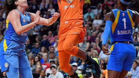 <p>               Connecticut Sun forward Alyssa Thomas shoots between Chicago Sky defenders Stefanie Dolson, left, and Diamond DeShields during a WNBA basketball game Tuesday, July 30, 2019, in Uncasville, Conn. (Sean D. Elliot/The Day via AP)             </p>