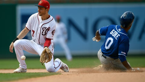 <p>               Washington Nationals shortstop Trea Turner (7) waits for the ball as Kansas City Royals' Terrance Gore (0) steals second base during the eighth inning of a baseball game, Sunday, July 7, 2019, in Washington. (AP Photo/Nick Wass)             </p>