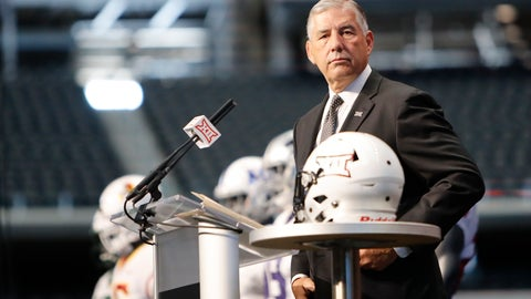 <p>               Big 12 Conference commissioner Bob Bowlsby takes the stage on the first day of Big 12 Conference NCAA college football media days Monday, July 15, 2019, at AT&T Stadium in Arlington, Texas. (AP Photo/David Kent)             </p>