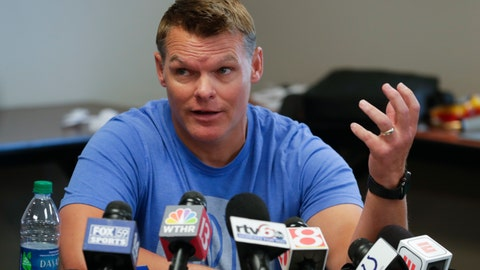 <p>               Indianapolis Colts general manager Chris Ballard talks about the status of players during an availability before the start of the NFL team's football training camp in Westfield, Ind., Wednesday, July 24, 2019. (AP Photo/Michael Conroy)             </p>
