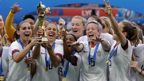 <p>               United States' team celebrates with trophy after winning the Women's World Cup final soccer match between US and The Netherlands at the Stade de Lyon in Decines, outside Lyon, France, Sunday, July 7, 2019. (AP Photo/Alessandra Tarantino)             </p>