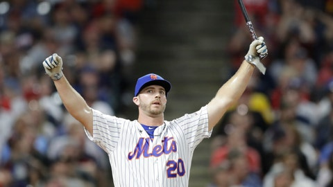 <p>               Pete Alonso, of the New York Mets, reacts after hitting during the first round in the Major League Baseball Home Run Derby, Monday, July 8, 2019, in Cleveland. The MLB baseball All-Star Game will be played Tuesday. (AP Photo/Tony Dejak)             </p>