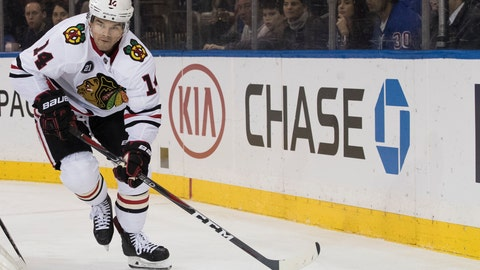 <p>               FILE - In this Thursday, Jan. 17, 2019 file photo, Chicago Blackhawks left wing Chris Kunitz controls the puck in the first period of an NHL hockey game against the New York Rangers at Madison Square Garden in New York. Chris Kunitz has retired after winning four Stanley Cup titles in 15 NHL seasons, Tuesday, July 30, 2019. (AP Photo/Mary Altaffer, File)             </p>