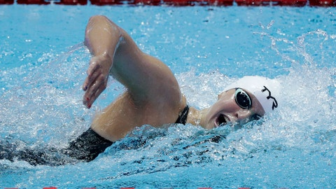 <p>               United States' Katie Ledecky swims in her heat of the women's 400m at the World Swimming Championships in Gwangju, South Korea, Sunday, July 21, 2019. (AP Photo/Mark Schiefelbein)             </p>