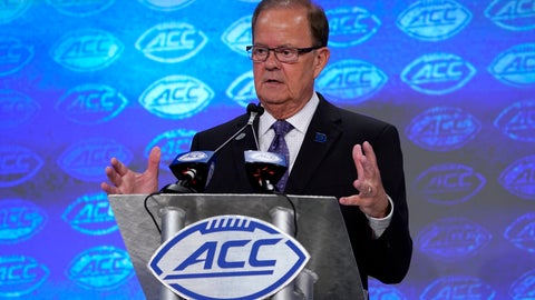 <p>               Duke head coach David Cutcliffe speaks during the Atlantic Coast Conference NCAA college football media days in Charlotte, N.C., Thursday, July 18, 2019. (AP Photo/Chuck Burton)             </p>