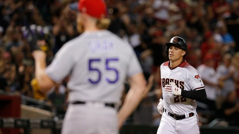<p>               Arizona Diamondbacks' Jake Lamb (22) runs the bases after hitting a two-run home run against the Colorado Rockies during the sixth inning of a baseball game Saturday, July 6, 2019, in Phoenix. (AP Photo/Rick Scuteri)             </p>