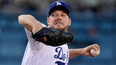 <p>               Los Angeles Dodgers' Rich Hill throws during the first inning of the team's baseball game against the San Francisco Giants on Wednesday, June 19, 2019, in Los Angeles. (AP Photo/Mark J. Terrill)             </p>