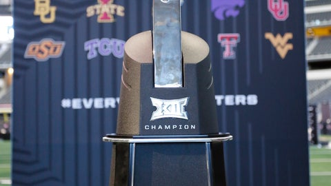 <p>               The Big 12 Conference trophy is displayed at the Big 12 Conference media days in Arlington, Texas, Monday, July 15, 2019. (AP Photo/David Kent)             </p>