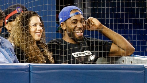 <p>               Toronto Raptors' Kawhi Leonard and his girlfriend, Kishele Shipley, watch the Toronto Blue Jays play the Los Angeles Angels during a baseball game Thursday, June 20, 2019, in Toronto. (Mark Blinch/The Canadian Press via AP)             </p>