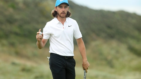 <p>               England's Tommy Fleetwood reacts after he saves parr on the 15th green during the third round of the British Open Golf Championships at Royal Portrush in Northern Ireland, Saturday, July 20, 2019.(AP Photo/Jon Super)             </p>
