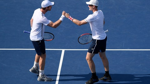 <p>               Andy Murray, left, and Jamie Murray, right, both of Britain, bump fists during a doubles match in the Citi Open tennis tournament against Nicolas Mahut and Edouard Roger-Vasselin, both of France, Wednesday, July 31, 2019, in Washington. (AP Photo/Nick Wass)             </p>