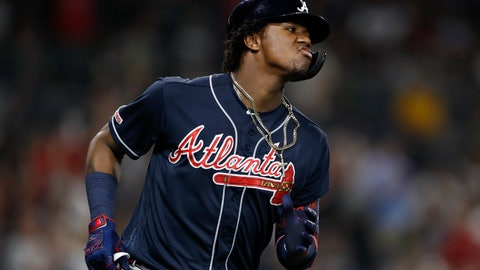 <p>               Atlanta Braves' Ronald Acuna Jr. reacts after hitting a home run during the fifth inning of the team's baseball game against the San Diego Padres, Friday, July 12, 2019, in San Diego. (AP Photo/Gregory Bull)             </p>