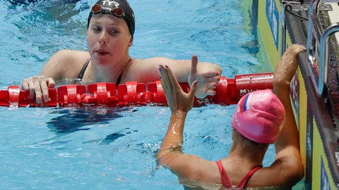 <p>               United States' Lilly King, left, is congratulated by Russia's Yuliya Efimova after winning the women's 50m breaststroke final at the World Swimming Championships in Gwangju, South Korea, Sunday, July 28, 2019. (AP Photo/Mark Schiefelbein)             </p>