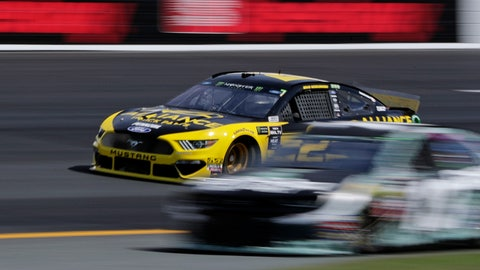 <p>               Pole sitter Brad Keselowski (2) passes slower cars during a NASCAR Cup Series auto race practice at New Hampshire Motor Speedway in Loudon, N.H., Saturday, July 20, 2019. (AP Photo/Charles Krupa)             </p>