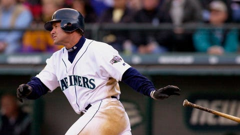 <p>               FILE - In this April 4, 2001, file photo, Seattle Mariners' Edgar Martinez drops his bat as he heads toward first on his sixth-inning, two-run double against the Oakland Athletics in Seattle. Martinez will go into the Baseball Hall of Fame on Sunday, the first player to spend his entire career with the Mariners--18 seasons in all--and find his way into Cooperstown. (AP Photo/Elaine Thompson, File)             </p>