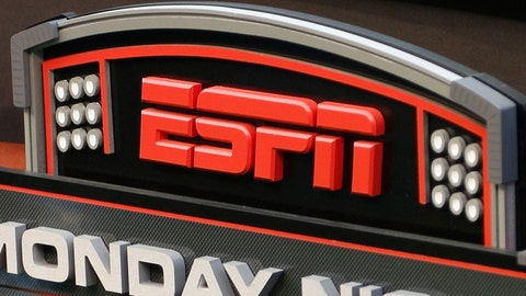 <p>               FILE - This Sept. 16, 2013, file photo shows the ESPN logo prior to an NFL football game between the Cincinnati Bengals and the Pittsburgh Steelers, in Cincinnati. ESPN is reminding employees of the network's policy to avoid talking about politics after radio talk show host Dan Le Batard criticized President Donald Trump and his recent racist comments and ESPN itself on the air this week. (AP Photo/David Kohl, File)             </p>