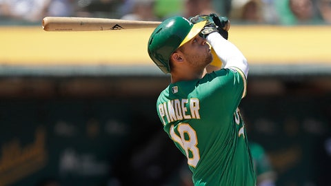 <p>               Oakland Athletics' Chad Pinder follows through on his swing after hitting a three run home run off Seattle Mariners' Tommy Milone in the sixth inning of a baseball game Wednesday, July 17, 2019, in Oakland, Calif. (AP Photo/Ben Margot)             </p>