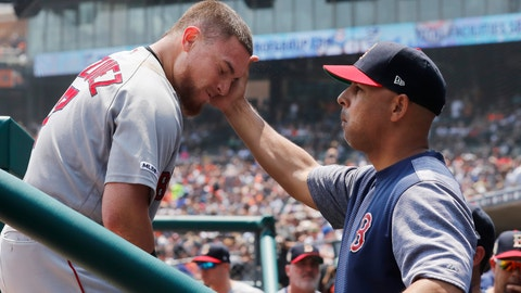 <p>               Boston Red Sox's Christian Vazquez is greeted by manager Alex Cora after a two-run home run during the second inning of a baseball game against the Detroit Tigers, Sunday, July 7, 2019, in Detroit. (AP Photo/Carlos Osorio)             </p>
