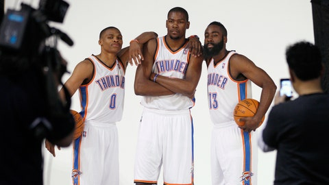 <p>               FILE - In this Dec. 13, 2011, file photo, Oklahoma City Thunder's Russell Westbrook (0), Kevin Durant, center, and James Harden (13) pose for a photo for NBA basketball photographers during media day in Oklahoma City. The Thunder are heading into a major transition. Westbrook was the last remaining player from the team that moved from Seattle to Oklahoma City in 2008. Durant, Harden, Serge Ibaka, Paul George and others are all gone. Now Westbrook will soon be on his way to Houston after an 11-year career with the franchise. (AP Photo/Sue Ogrocki, File)             </p>