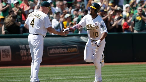 <p>               Oakland Athletics' Marcus Semien, right, is congratulated by third base coach Matt Williams (4) after hitting a solo home run against the Minnesota Twins during the fifth inning of a baseball game in Oakland, Calif., Thursday, July 4, 2019. (AP Photo/Jeff Chiu)             </p>