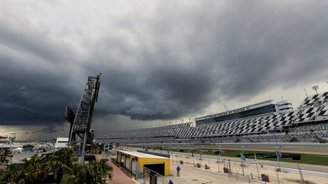 <p>               Storm clouds move over Daytona International Speedway causing a delay of events before a NASCAR Xfinity auto race, Friday, July 5, 2019, in Daytona Beach, Fla. (AP Photo/John Raoux)             </p>
