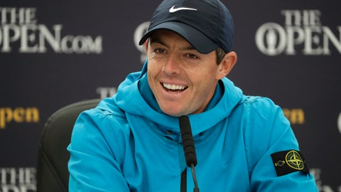 <p>               Northern Ireland's Rory McIlroy smiles as he listens to a question from the media at a press conference ahead of the start of the British Open golf championships at Royal Portrush in Northern Ireland, Wednesday, July 17, 2019. The British Open starts Thursday. (AP Photo/Matt Dunham)             </p>