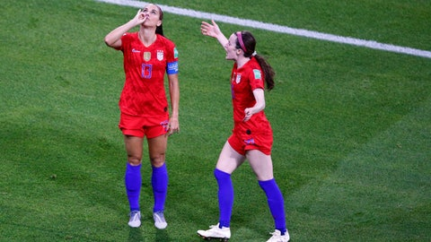 <p>               United States' Alex Morgan, left, celebrates her side's second goal during the Women's World Cup semifinal soccer match between England and the United States, at the Stade de Lyon outside Lyon, France, Tuesday, July 2, 2019. (AP Photo/Francois Mori)             </p>
