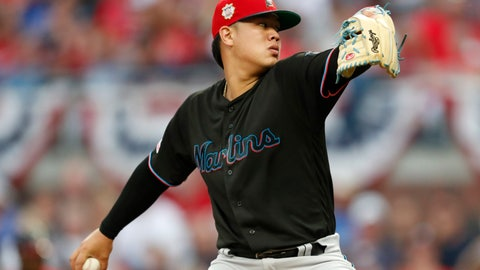 <p>               Miami Marlins starting pitcher Jordan Yamamoto works in the first inning of the team's baseball game against the Atlanta Braves on Friday, July 5, 2019, in Atlanta. (AP Photo/John Bazemore)             </p>