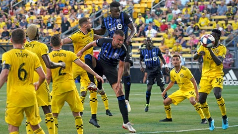<p>               Montreal Impact's Zakaria Diallo, middle back, scores a goal as Rudy Camacho, middle, leaps against Columbus Crew's Josh Williams, back, during the first half of an MLS soccer match, Saturday, July 20, 2019, in Columbus, Ohio. (AP Photo/Aaron Doster)             </p>