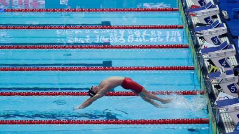 <p>               Italy's Simone Sabbioni starts to race alone in his men's 100m backstroke heat following equipment issues at the World Swimming Championships in Gwangju, South Korea, Monday, July 22, 2019. (AP Photo/Mark Schiefelbein)             </p>