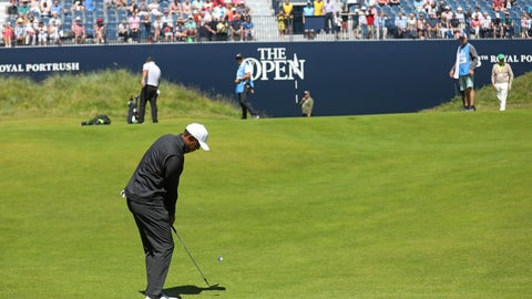 <p>               Tiger Woods of the U.S on the 18th hole at Royal Portrush Golf Club during a practice round ahead of the 148th Open Golf Championship, in Portrush, Northern Ireland, Sunday, July 14, 2019. The Open Golf Championships takes place between 18-21st July. (AP Photo/Peter Morrison)             </p>
