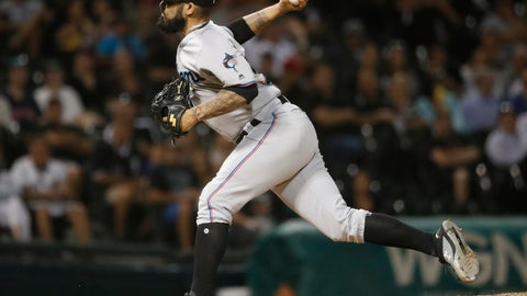 <p>               Miami Marlins relief pitcher Sergio Romo delivers during the ninth inning of a baseball game against the Chicago White Sox Wednesday, July 24, 2019, in Chicago. The Marlins won 2-0. (AP Photo/Charles Rex Arbogast)             </p>