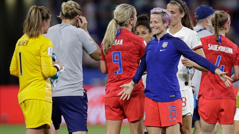 <p>               United States' Megan Rapinoe prepares to hug United States goalkeeper Alyssa Naeher after the Women's World Cup semifinal soccer match between England and the United States, at the Stade de Lyon, outside Lyon, France, Tuesday, July 2, 2019. (AP Photo/Alessandra Tarantino)             </p>