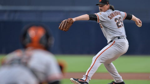<p>               San Francisco Giants starting pitcher Jeff Samardzija, right, works against a San Diego Padres batter during the first inning of a baseball game Friday, July 26, 2019, in San Diego. (AP Photo/Orlando Ramirez)             </p>