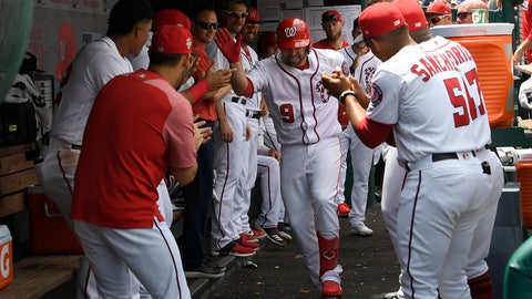 <p>               Washington Nationals' Brian Dozier (9) celebrates his home run in the dugout with his teammates during the second inning of a baseball game against the Kansas City Royals, Sunday, July 7, 2019, in Washington. The Nationals won 5-2. (AP Photo/Nick Wass)             </p>