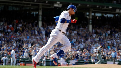<p>               Chicago Cubs' Javier Baez rounds the bases after hitting a three-run home run during the fourth inning of a baseball game against the San Diego Padres in Chicago, Saturday, July 20, 2019. (AP Photo/Nam Y. Huh)             </p>