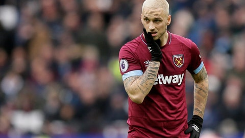 <p>               FILE - In this file photo dated Saturday, Jan. 12, 2019, West Ham's Marko Arnautovic reacts during the English Premier League soccer match against Arsenal at London Stadium in London. West Ham has announced the sale of Marko Arnautovic to Chinese champion Shanghai SIPG in a terse, two-line statement issued Monday July 8, 2019. (AP Photo/Tim Ireland, FILE)             </p>