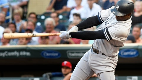 <p>               New York Yankees' Didi Gregorius doubles off Minnesota Twins pitcher Kyle Gibson driving in two runs in the first inning of a baseball game, Tuesday, July 23, 2019, in Minneapolis. (AP Photo/Tom Olmscheid)             </p>