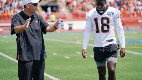 <p>               Cincinnati Bengal wide receiver A.J. Green (18) receives instruction from receivers coach Bob Bicknell during the first day of NFL football training camp Saturday, July 27, 2019, in Dayton, Ohio. (AP Photo/Bryan Woolston)             </p>